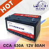 12v 80ah car battery with high cca and good starting ability
