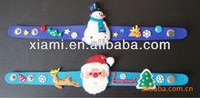Soft Pvc 3D Logo bracelets wristbands With Embossed Logo Xmas Santa Claus