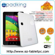 7inch Allwinner A10 Cortex A8 1.5GHz,Bluetooth,Dual cameras 3G tablet,Sim card phone calling DDR3/8GB android4.0 os tablet