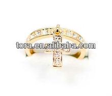 fashion hot sell gold crystal dangle cross ring