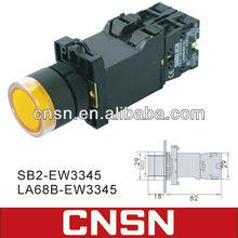 Yellow push button switch with lamp bulb XB2-EW3345 LAY5-EW3345