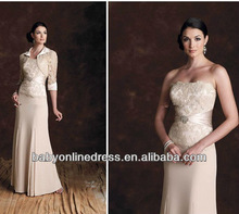 Wholesale - 2012 Sexy Strapless Satin Lace Sheath Bolero Long Sleeve Mother of the Bride Dresses 19901