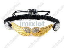 Women's Gift! 5X Adjustable Friendship Angle Wings Crystal Charms Macrame Braid String Bracelet [F243B*5]