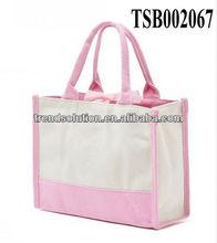 hot sale fashion woman pink canvas handbag