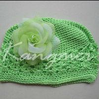 Crochet hat Cotton Kufi hats with tutu flowers