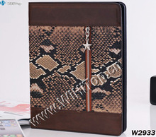 High Quality Snake Pattern Leather Stand Case for iPad 2 and iPad 3,Leather Zipper Sleeve Case for iPad 3 Nice Look