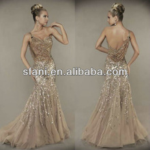 EDTT-072 Newest Sexy One-shoulder Mermaid sweetheart backless Sequined organza Evening Dresses 2014