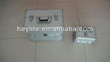 silver portable aluminum tool box