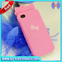cute silicon case for iphone 4/4S with logo on for I4