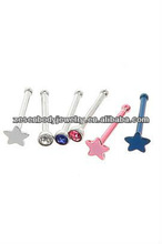 Fashion and hot nose studs in stainless steel many many other colors with logo in the top star crystal body piercing jewelry