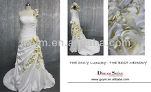 real sample lastest design one shoulder golden flower adorn A-line floor touching pleat wedding dress with jacket DSRD0047