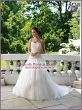 AWB1504 2013 New Appliqued Oblique Waistline White Organza Discount Wedding Gown