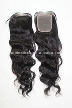 "natural wave silk base closure 3.5""*4"" Malaysian virgin hair wavy silk top closure light brown lace color"