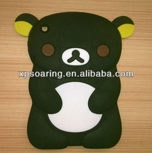 3D relax bear silicon case back cover for mini ipad