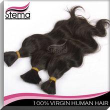 100% Brazilian human wavy extension hair bulk black&dark brown high quality virgin hair 3pcs/lot,bulk hair for braiding curly