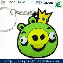 Factory OEM custom 3D cute pig soft pvc rubber keyring