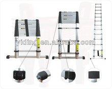 Telescopic ladder w/ balance bar, extension aluminium ladder 3.8M, EN131