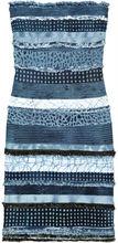 blue pattern strapless evening bandage dress