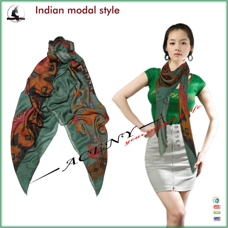 Fashion Indian Pattern Modal Printed Scarf Eyelash Trims