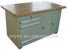 cold rolled steel garage repairing workbench with beechwood top