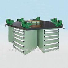 industrial wood top steel hexangular workbench