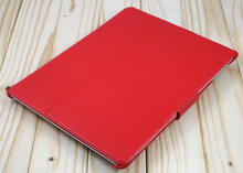 2012 latest hot red leather case with stand for ipad 2
