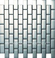 Metallic Silver Subway Stainless Steel Mosaic Tiles