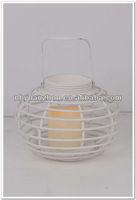 Decorative round white metal Led lantern