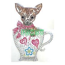 Cute animal decoration rhirhinestone iron on transfers wholesale
