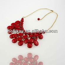 Christmas Promotion 2012 fashion chunky red acrylic bead necklace, fashion imitation jewelry