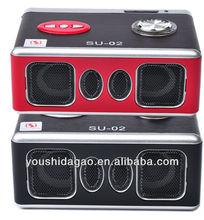 SU-02 2012 hot sale portable speaker FM,USB wooden mp3 speaker
