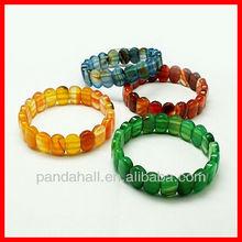 Natural Agate Elastic Gemstone Bracelets(BJEW-C255-M1)