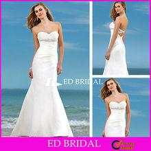 Sweetheart Beaded Ruched Low Back Sheath Wedding Dress with Keyhole Back