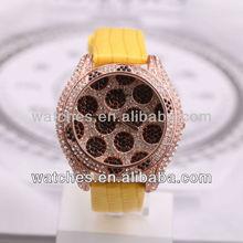 superior quality luxury quartz watch custom Leopard crystal dial for women