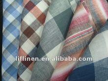 100% linen check plaid stripe yarn dyed fabric