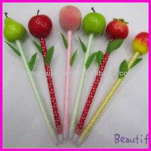 fashion plastic plush fruit pens for school children