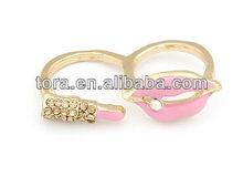 2012 new fashion pink lipstick gold ring