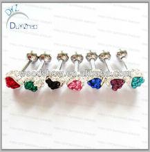 Fashion Wholesale Heart Gemstone Geode Stud Earrings Jewelry