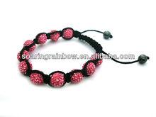 pink crystal ball woven shamballa bracelet