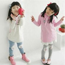 Long sleeve cartoon printed lovely girls' clothing sets 2 pcs