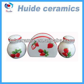 strawberry ceramic salt and pepper set with napkin holder
