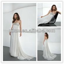 noble and sexy strapless sweetheart chiffon fabric good beaded working sash decoration long train wedding dress 2013