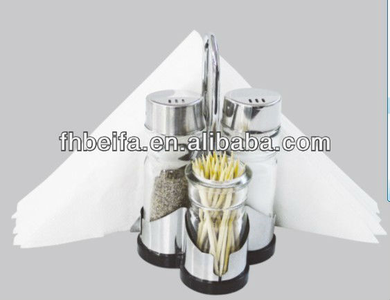 Glass Cruet Set with napkin holder and toothpick holder