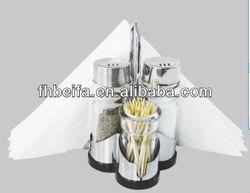 Glass Cruet Set with napkin holder and toothpick holder