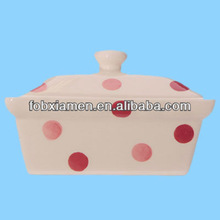 Ceramic polka dot white and pink butter dish