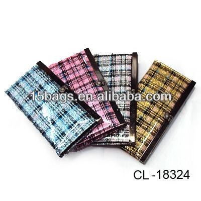 2012 Fashion pu leather flat metal frame wallets