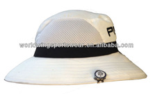 Mens customized plain white mesh drawstring with wide stiff brim sports golf hat