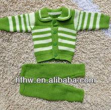 newborn baby stripes turn-down collar sweater set
