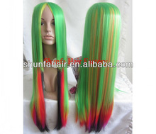 heat resistant synthetic hair colorful and long hair wig