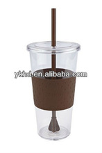 2012 hot seller plastic cup with lids and straw